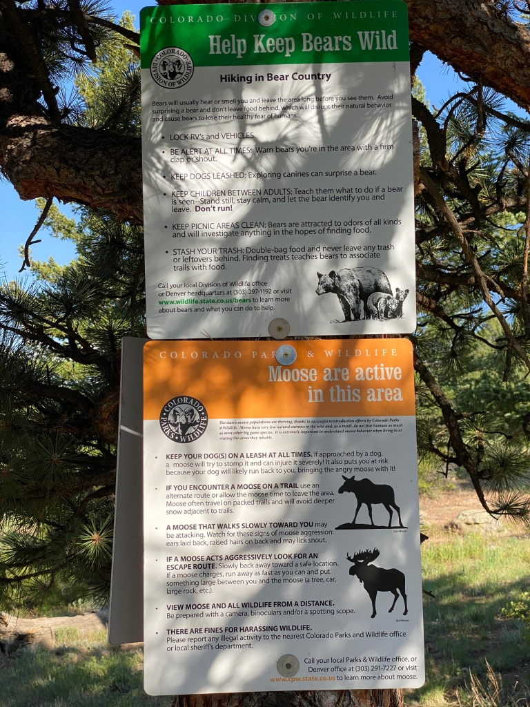 Sign warning of hiking in bear and moose country
