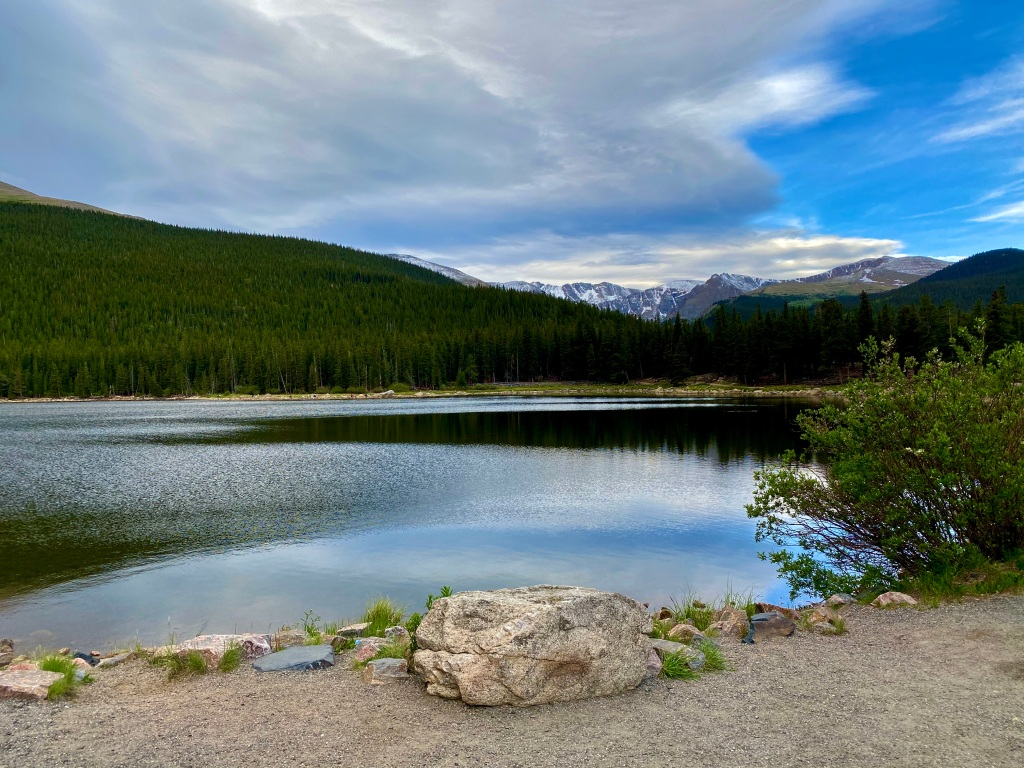 Looking over Echo Lake in the morning towards Mt Evans in Colorado