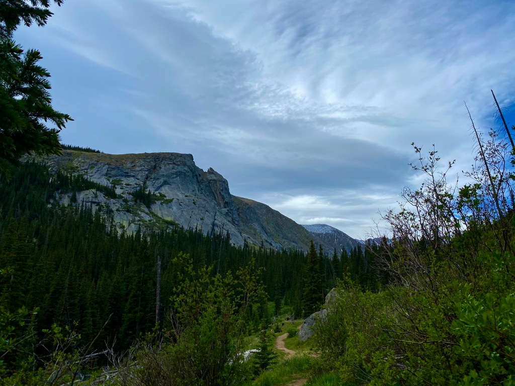 Looking up the trail at the surrounding cliffs