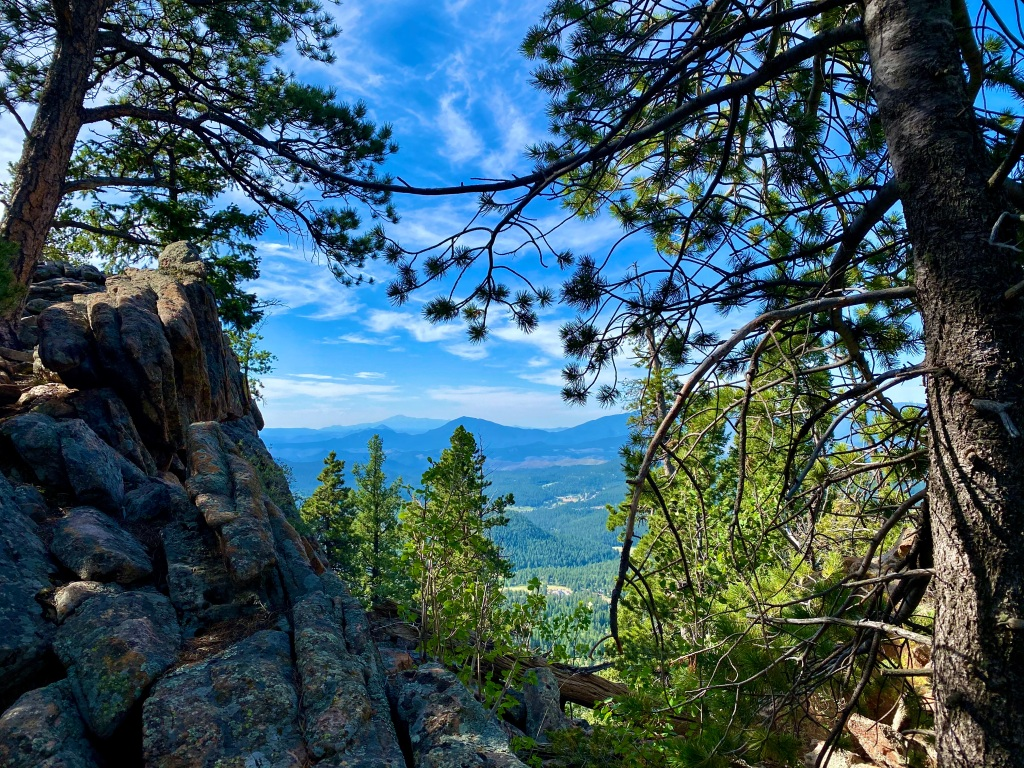 Looking through the trees at the mountains in the distance from the Pike's Peak Outlook