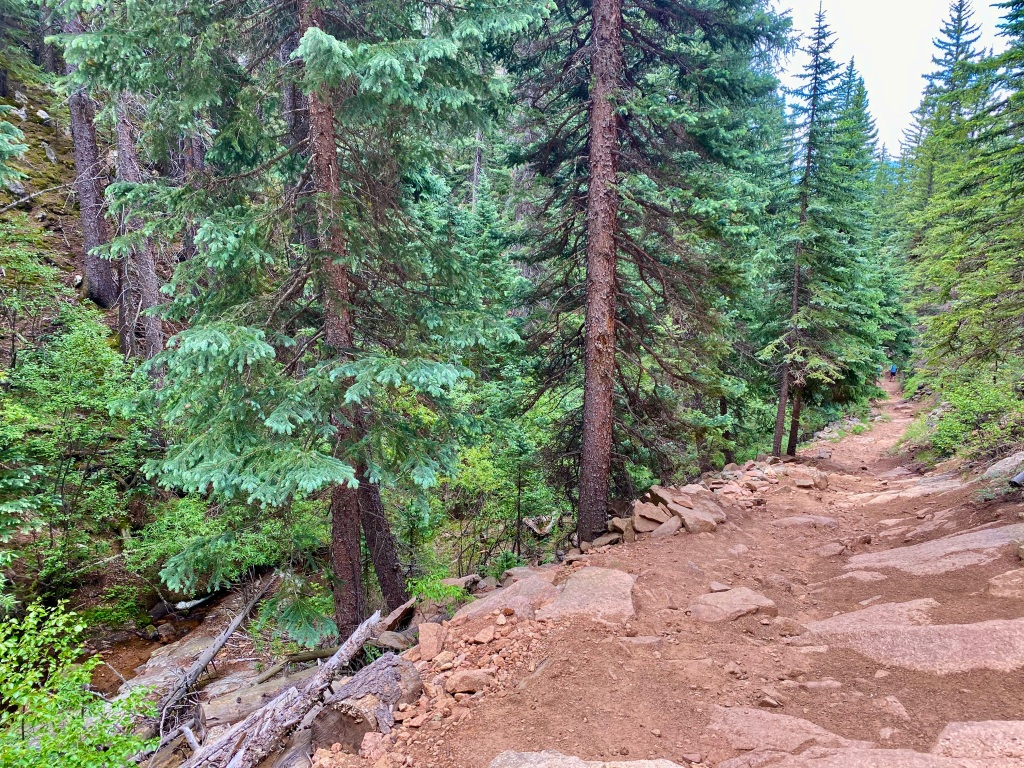 View heading down a rocky stretch of the Mason Creek Trail, with Mason Creek on my side