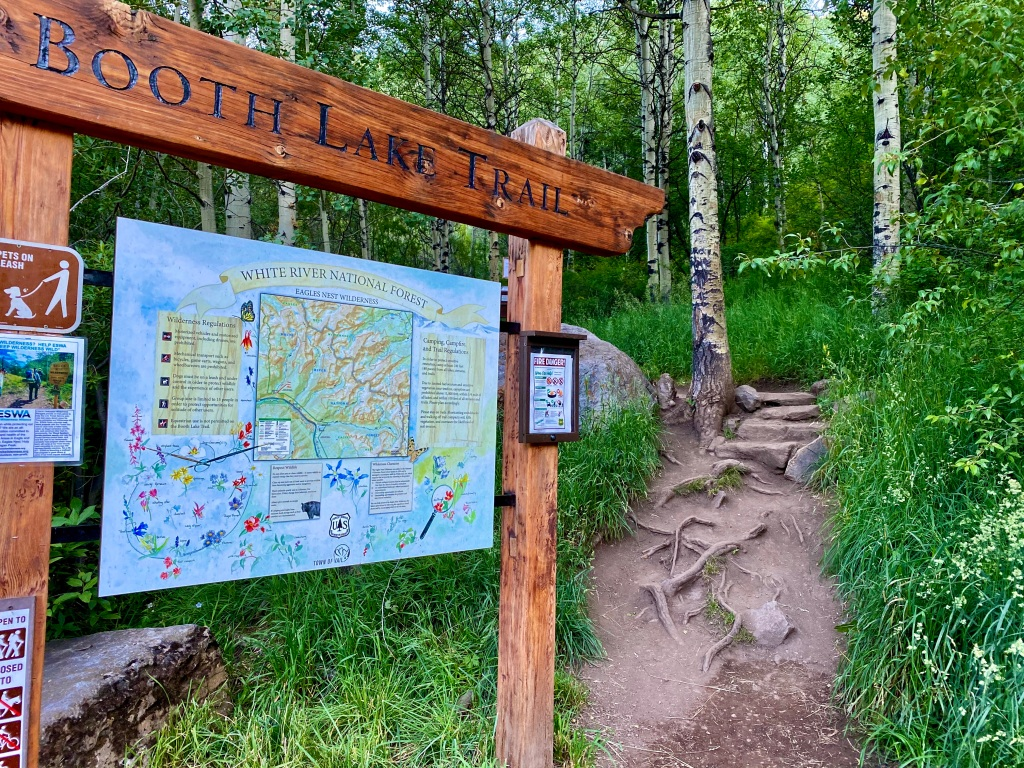 Booth Lake Trailhead sign